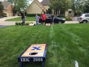 Solid performances don't stop at the finish line - Nick and I took the Guacci Family Cornhole Title